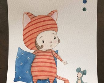 time to bed- original watercolor painting, nursery decor