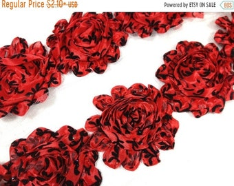 "SALE 30% OFF 2.5"" PRINTED  Shabby Rose Trim- Red Damask Color- Red Chiffon Trim - Hair Accessories Supplies"