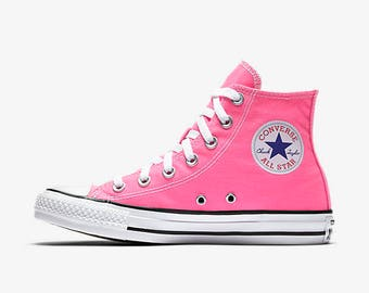 High Top Converse Wedding Shoes Hot Pink Pow Bride or Groom Wedding Converse Shoes Hand Painted Bridal Wedding Converse Custom Wedding Shoes