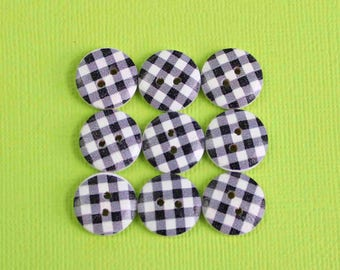 20 Gingham Buttons Painted Wood Black Checkered Plaid 15mm BUT374