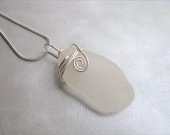 Beach Glass Pendant - Sea Glass - White Sea Glass - Wire Wrapped - Beach Glass Jewelry-Pure Sea Glass from Prince Edward Island- Ocean Gifts