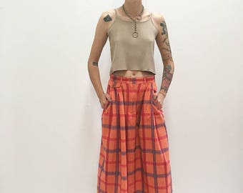 80s/90s Maxi Coral Pink Plaid Skirt with Pockets Size (vintage) 8