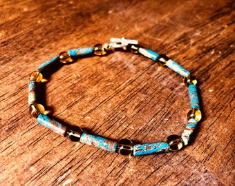 Bracelet - Marble Tube-shaped Beads with Citrine Glass