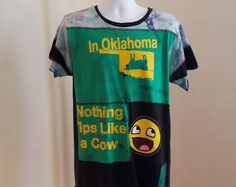 Funny Oklahoma Unixex Patchwork Art T-Shirt, Men's size M, recycled patchwork t-shirt, boat, cow,over-dye,  one of a kind, handmade,upcycled