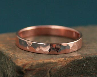 Hammered Gold Band--Hammered Gold Ring--Rose Gold Ring--Rose Gold Band--3mm Flat Band--Unisex Ring--Tomboy Ring--Rustic Wedding Band