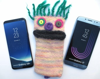 "Smartphone monster ""Boris"", felted, cellphone case, sleeve, Samsung Galaxy S 7 edge, Samsung Galaxy J7, S8 +, mobile phone monster, felt, wool,"