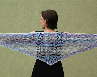 PDF Palm Leaves Triangular Shawl CROCHET PATTERN