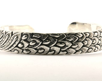 Vintage Phoenix Textured Design Cuff Bracelet Sterling Silver BR 1864-E