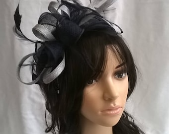 Navy & Silver rosette fascinator without crystal stamens..on a headband  ..Stunning for races ,wedding..bag seperate  purchase