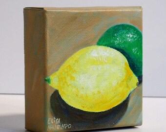 Lemon and Lime - Original acrylic painting - Citrus fruit painting - ElisaAlvarado - Wall art - Miniature art - Lemon painting - Kitchen art