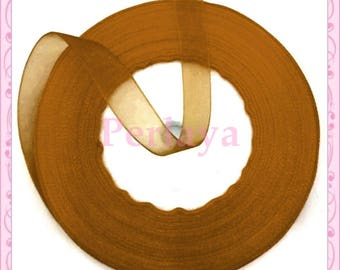 45 meters organza Ribbon 10mm caramel brown REF2710