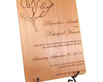 Wooden Wedding Invitation - Calla Lily Design