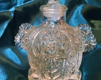 Lovely Vintage Floral Design Glass Perfume Bottle