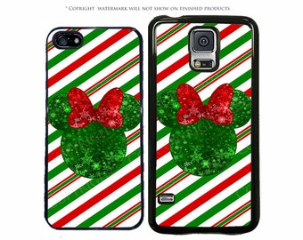 Disney Christmas Glitter Minnie Mouse Phone Case for Apple iPhone 7, X, iPhone 8, Galaxy S8, S8 Plus, S7, S7 Edge, LG, Pixel, XL, Note 8