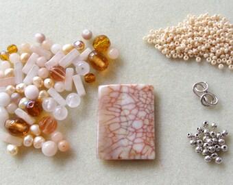 Antique Agate Aventurine Czech Glass  Pendant Focal Beads Kit Necklacse Jewelry DIY