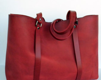 Large  Leather Tote Bag - Large Red Leather Bag - Supple Red Leather Bag,Red  Leather Tote,Women Red Bag,Simple Red Bag