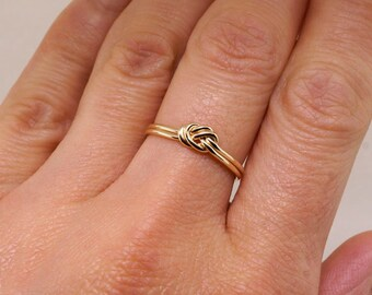 Gold Nautical Knot Ring - Alternative Engagement Ring - Simple Wedding Ring - Knot Ring - Thin Gold Ring - Promise Ring for Her