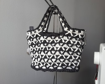 Black and white 2 in 1 crochet and fabric bag