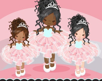 Pink Tutu clipart. Cute ballerina graphics, ballet party, party printables, digitized embroidery, planner stickers, african american, dark