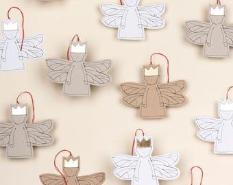 Paper angel ornament Xmas Angel Set of 5 Paper doll Christmas Décor Tree ornament Paper fairy Hanging decoration Gold foil Sparkle Ornament