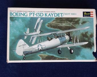 Vintage Model Airplane Kit Boeing PT-13D KAYDET Navy N2S-5 by Revell from 1966 Ready to Assemble Plastic Model Kit