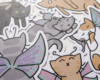 Cute Fairy Cat Stickers, Playful Kitties, Journaling, Sticker Flakes, Stationery, Scrapbooking, Paper Stickers, Adorable Kittens