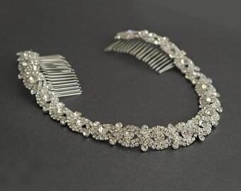 Wedding Headband, Bridal Headpiece, Silver or Rose Gold Rhinestone Headband, Hair Tiara, Flower Girl,Hair Jewelry, Hair Accessory-HA018