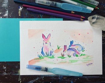 Bun Buns Watercolor Painting