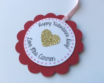10 Red and Gold Glitter Personalized Favor Tags.  VALENTINE'S DAY Birthday Party.  Gift Tags.
