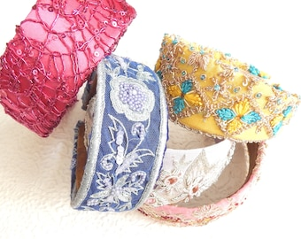 Beaded and floral embroidered wide headbands, headbands for women, hair accessory