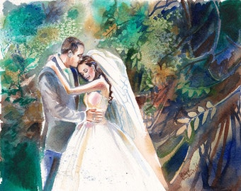 Personalized wedding gifts for couple - Custom - Wedding Gift - original watercolor painting