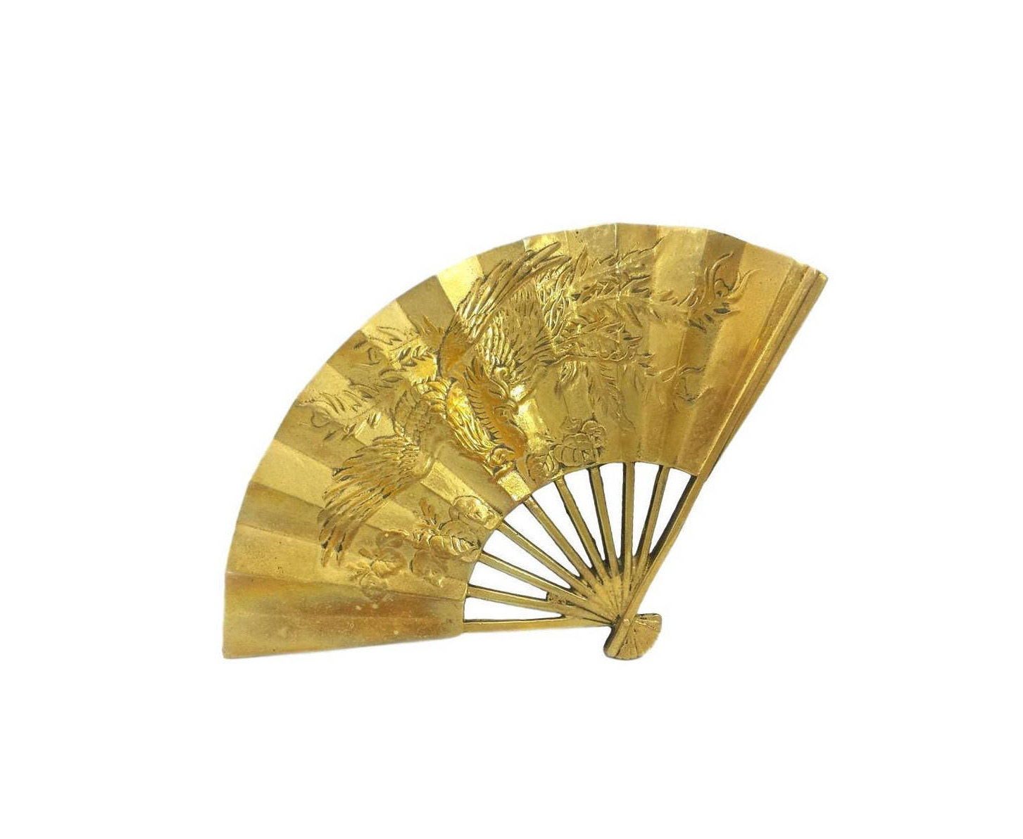 Vintage Brass Fan Asian Phoenix Bird Floral Decorative Wall