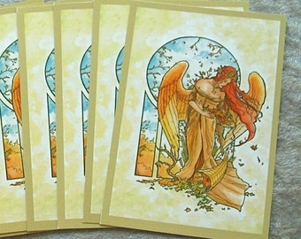 Set of 10 Holiday Postcards - Fantasy Art Nouveau Angel of Autumn Winged Woman Goddess with Cornucopia Thanksgiving Mucha Style