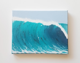 Ocean Painting, Beach Art, Beach Painting, Landscape Art, Gift Idea, Gifts for Him, Hipster Gift, Wanderlust Art, Wanderlust Gift, Wave Art