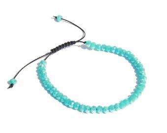 Sky blue bracelet, facet beads adjustable bracelet, stacking accessory, stacked jewelry, christmas gift, shamballa, boho, friendship