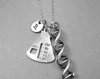 Beaker necklace, DNA necklace, science jewelry, Double helix charm, Biologist gift, personalized necklace, initial necklace, monogram
