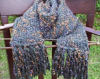 Dark Green Scarf with Gold & Purple accents