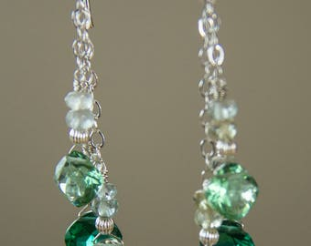 Green Amethyst, Emerald and Green Quartz, Cushion Shape Briolletes, Layered, Dangle Earring, Sterling Silver