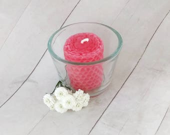 Love candle, Organic beeswax candle, votive candle, Reiki energy candle, intention candle, pink candle, unscented candle, rose, eco friendly