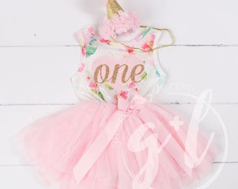 Pink Floral First Birthday Outfit, Sleeveless, 1st birthday outfit, 1st birthday dress, Floral, Pink heart