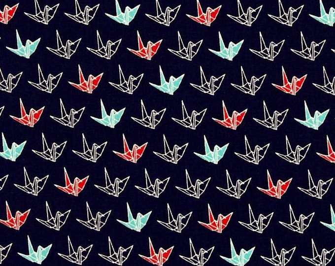 Sakura II Origami Cranes in Navy Blue, Teal, Red, and White by Cosmo Textile Company - Cotton Shirting  Fabric