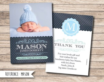Birth Announcement - Baby Thank You Card - Printable File - Digital Download