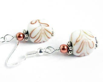 Vintage Earrings, Swirl Earrings, Dangle Earrings, Drop Earrings, Cube Earrings, Glass Earrings, Vintage Beads, Gift for Her, White Earrings