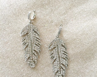 Gorgeous  Feather Pave Inspired Chandelier Earrings. Avaiable in Gold or Silver
