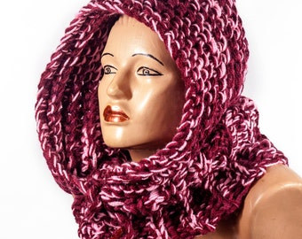 Ready to Ship - Hooded Scarf, Chunky hooded scarf , Acrylic Scarf by LoveKnittings