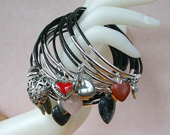 Black Leather Bangles with Silver Plated Mixed Hearts