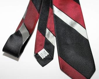 "1960s Striped Mid Century Modern Skinny Tie Black Red Gray Narrow 2.5"" Silk"