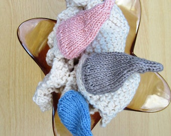 Organic cotton hand-knit baby rattle comfort blanket baby gift baby shower teethers toy