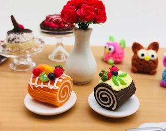 Miniature Duo Cake Roll,Miniature Cake,Miniature Bakery,Miniature Sweet,Dollhouse cake,Dolls and miniature