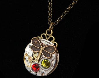 Watch pendant old green and Red Swarovski and brass Butterfly